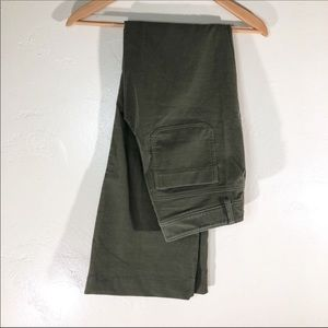 Theory green corduroy flare pants size 6